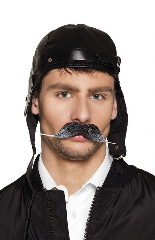 Mens Moustache Pilot for Airman Air Crew Captain Biggles WWII Officer 1920's Fancy Dress